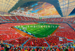 Hand Painted original of THE EMIRATES
